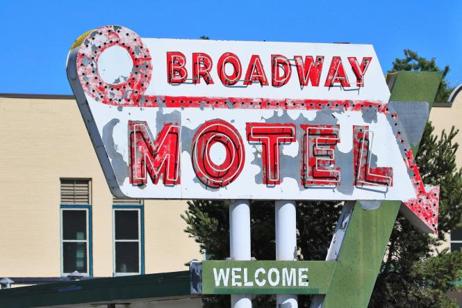 Old Broadway Motel Sign Denver Colorado