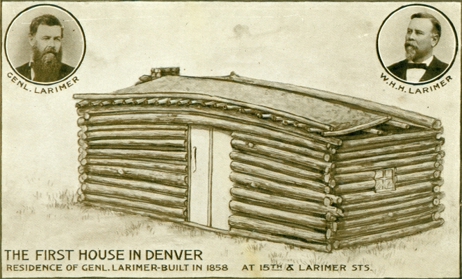 Postcard of the first house in Denver, the residence of General William Larimer.
