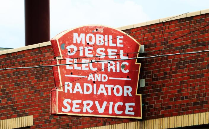 Old Mobile Diesel Electric and Radiator Service Neon Sign LODO Denver Colorado