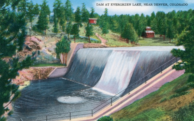 Postcard: The Dam at Evergreen Lake near Denver Colorado