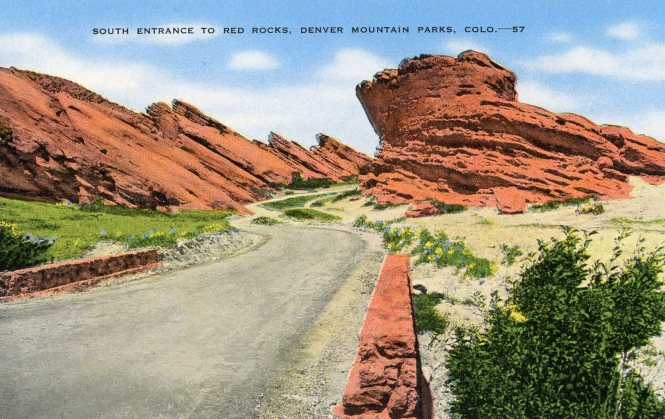 south entrance to red rocks denver mountain parks postcard