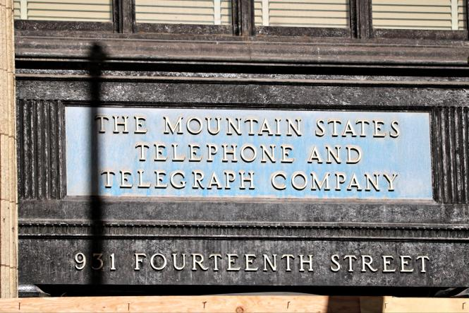 The Mountain States Telephone and Telegraph Company sign 931 14th St Denver Colorado