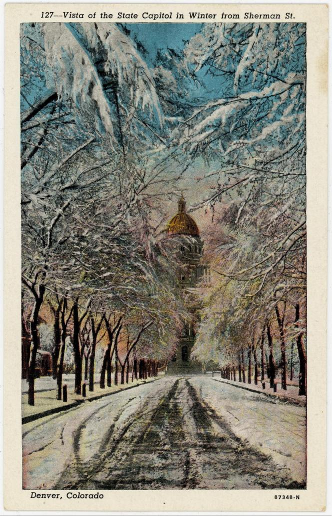 Vista of the State Capitol in Winter from Sherman Street Postcard Denver Colorado